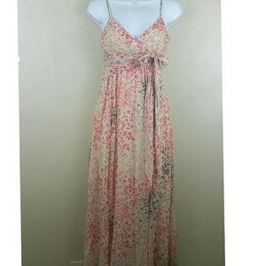 Bcbgmaxazria beaded bust silk floral maxi Dress